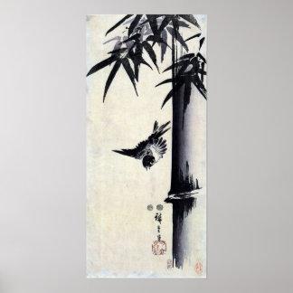 竹に雀, 歌川広重 Bamboo & Sparrow, Hiroshige, Sumi-e Poster