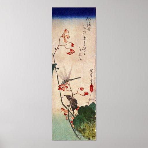 花にトンボ, 広重 Dragonfly and Flower, Hiroshige, Ukiyo-e Posters