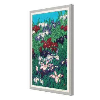 菖蒲, Iris, Hasui Kawase, Woodcut Canvas Print