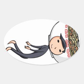 萌 palm boy English story Ramen shop Kanagawa Oval Sticker