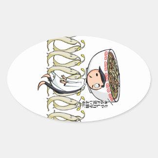萌 palm doctor English story Ramen shop Kanagawa Oval Sticker