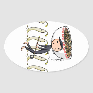 萌 palm gentleman English story Ramen shop Kanagawa Oval Sticker