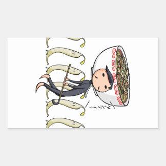 萌 palm gentleman English story Ramen shop Kanagawa Rectangular Sticker