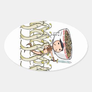 萌 palm soldier English story Ramen shop Kanagawa Oval Sticker