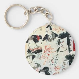 落書き風の猫, Graffiti-like Cat, Kuniyoshi, Ukiyoe Key Ring