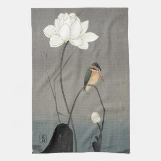 蓮にカワセミ, 古邨 Kingfisher on Lotus, Koson, Ukiyo-e Tea Towel
