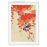 赤い蔦に鳥, 古邨 Bird on Red Ivy, Koson, Ukiyo-e Greeting Card