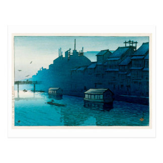 道頓堀の朝, Morning at Dôtonbori, Hasui Kawase, Woodcut Postcard