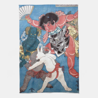金太郎と動物,国芳 Kintaro & Animals, Kuniyoshi, Ukiyo-e Tea Towel