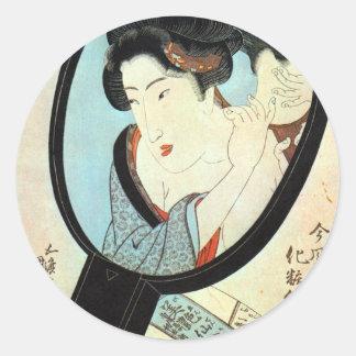 鏡の中の女, 国貞 Woman in the Mirror, Kunisada Classic Round Sticker