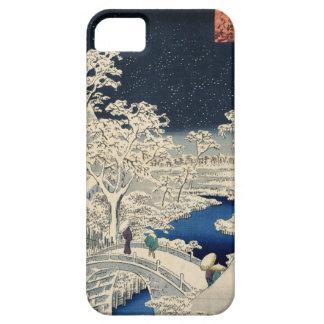 雪の太鼓橋, 広重 Snowy Drum bridge, Hiroshige, Ukiyo-e iPhone 5 Covers