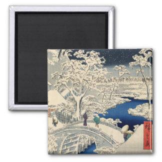 雪の太鼓橋, 広重 Snowy Drum bridge, Hiroshige, Ukiyo-e Magnet