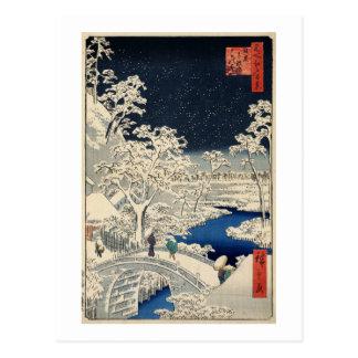 雪の太鼓橋, 広重 Snowy Drum bridge, Hiroshige, Ukiyo-e Postcard