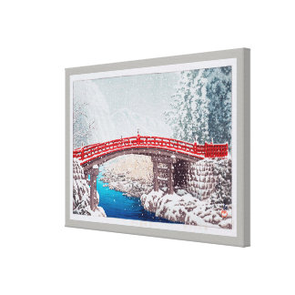 雪の神橋, Snow on the Sacred Bridge at Nikkô, Hasui Canvas Print