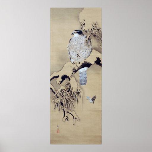 雪中鷹図, 柴田是真 Hawk in the Snow, Shibata Zeshin Posters