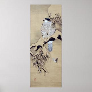雪中鷹図 柴田是真 Hawk in the Snow Shibata Zeshin Posters