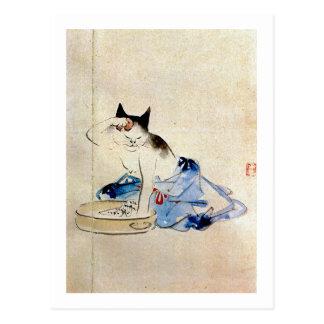 顔を洗う猫, 広重 Cat Face Wash, Hiroshige Postcard