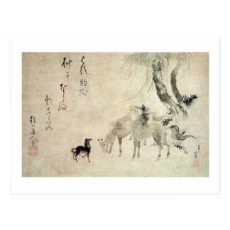 馬の家族, 北斎 Family of The Horse, Hokusai, Sumi-e Postcard