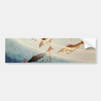 鮎, 北斎 Sweetfish, Hokusai, Art Bumper Sticker