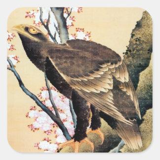 鷲と桜, 北斎 Eagle and Cherry Blossoms, Hokusai Square Sticker