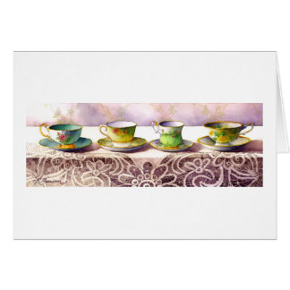 0001 Row of Teacups Greeting Card