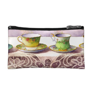 0001 Row of Teacups on Lace Makeup Bags
