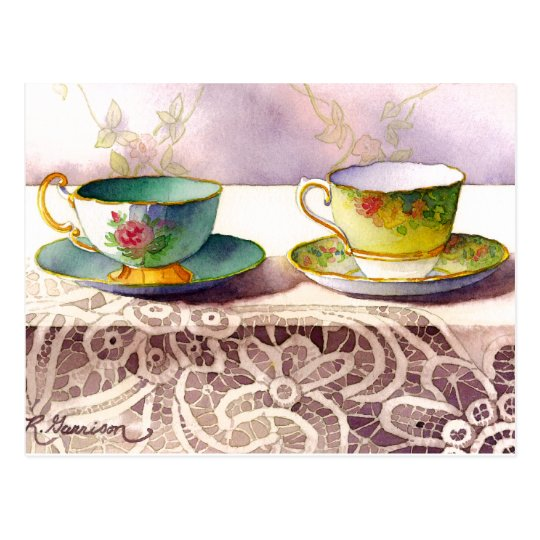 0001 Teacups on Lace Greeting Postcard