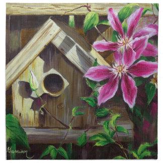 0003 Birdhouse & Clematis Cloth Napkins