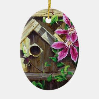 0003 Birdhouse & Clematis Ornament