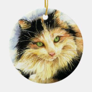 0010 Calico Cat Ceramic Ornament