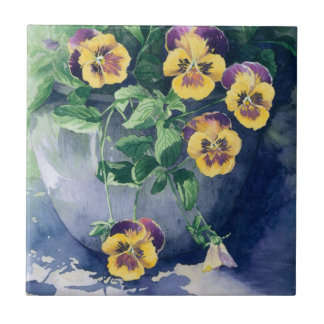 0011 Pansies in Planter Tile