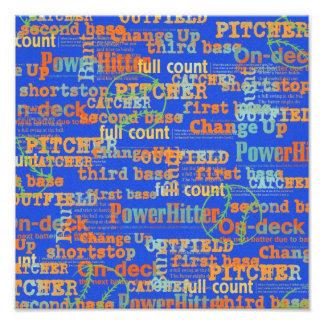002 BASEBALL WORDS HIT PITCHER ON-DECK THIRD BASE PHOTOGRAPHIC PRINT