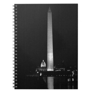 0031 Washington's Glow (Night B&W).JPG Spiral Notebook