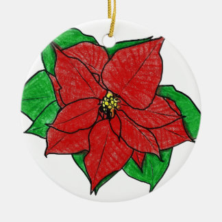 0043 Poinsettia No 1.png Ceramic Ornament