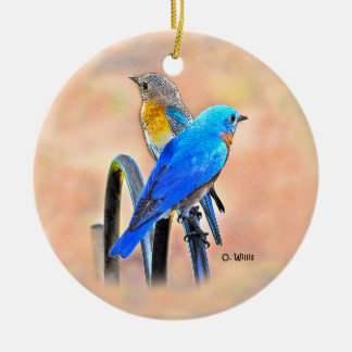 010 Bluebird Love 2.87 Ceramic Ornament