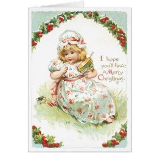 017 Vintage Christmas Card Mistletoe Blonde Girl