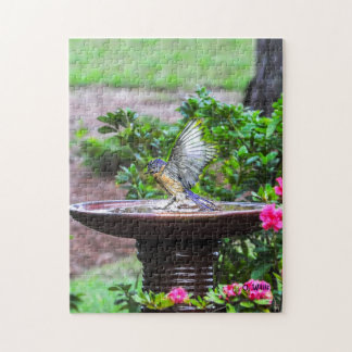 030 Bluebird Bath 11x14 Puzzle 252 Pieces