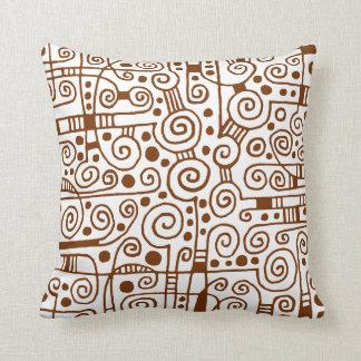 040512 - Dark Brown on White Throw Cushion