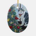 0417 Christmas Cat Ceramic Ornament