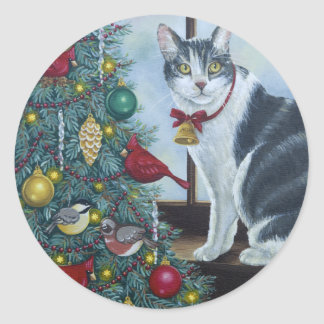 0417 Christmas Cat Classic Round Sticker
