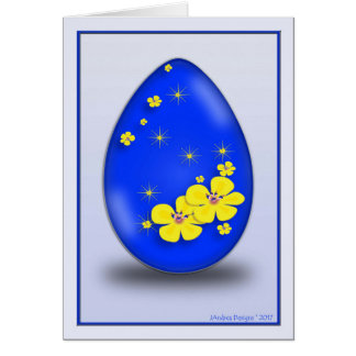 0435F6 Cobalt Easter Egg Yellow Flowers & Stars_NG Card