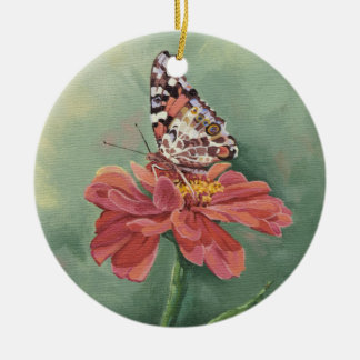 0461 Painted Lady Butterfly on Zinnia Ceramic Ornament