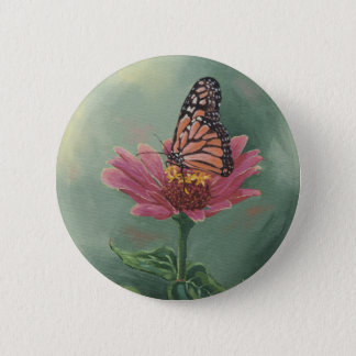 0465 Monarch Butterfly on Zinnia 6 Cm Round Badge