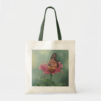 0465 Monarch Butterfly on Zinnia Canvas Bag