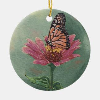 0465 Monarch Butterfly on Zinnia Ceramic Ornament