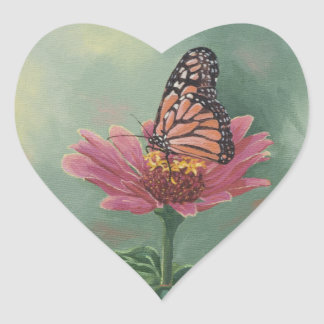 0465 Monarch Butterfly on Zinnia Heart Sticker