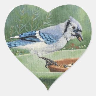 0481 Blue Jay at Feeder Heart Sticker