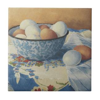 0492 Eggs in Blue Enamel Bowl Tile