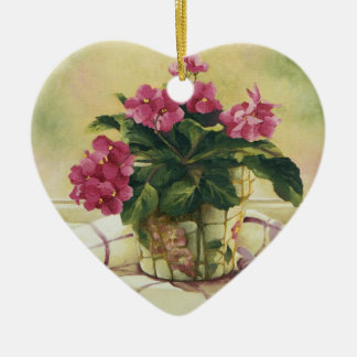 0511 African Violets in Mosaic Planter Ceramic Ornament