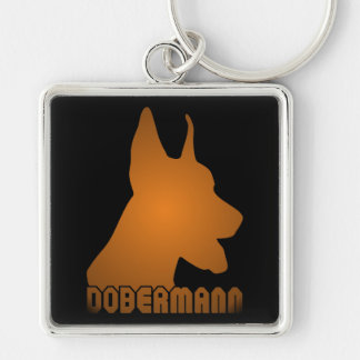 0513032011 Dobermann (Animales) Silver-Colored Square Key Ring
